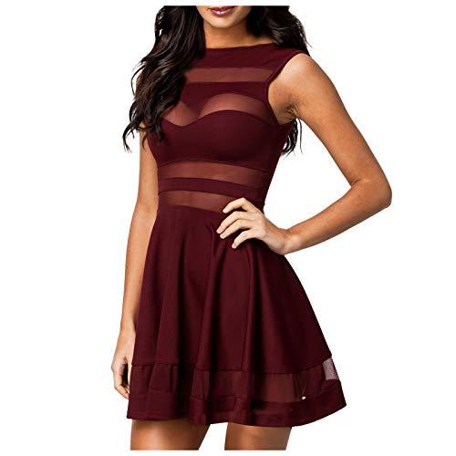 Toppeed - Vestido plisado para mujer, vestido de malla, vestido de color liso, cuello redondo, sin mangas, falda Trapece, elegante, informal, sexy, fiesta de cóctel Du Vin L