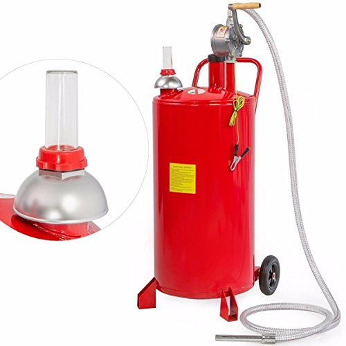 Stark 20-Gallon Gas Caddy Tank Transfer Gasoline Fluid Diesel Fuel Storage Crank Pump w Wheel, Red