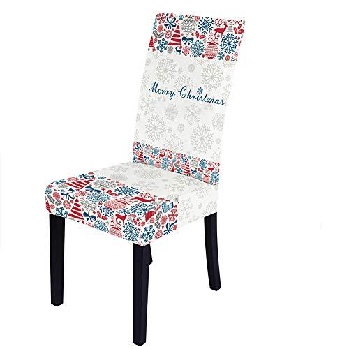 2/4/6 STKS Kerstfestival Xmas Eetkamerstoelhoes, verwijderbare, wasbare elastische stoelbeschermer Stoelhoezen voor…