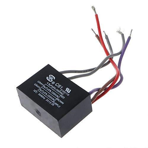 Winwill - Condensador de ventilador de techo CBB61 4.5uf + 6uf + 5uf 5 cables 50/60Hz AC 250V