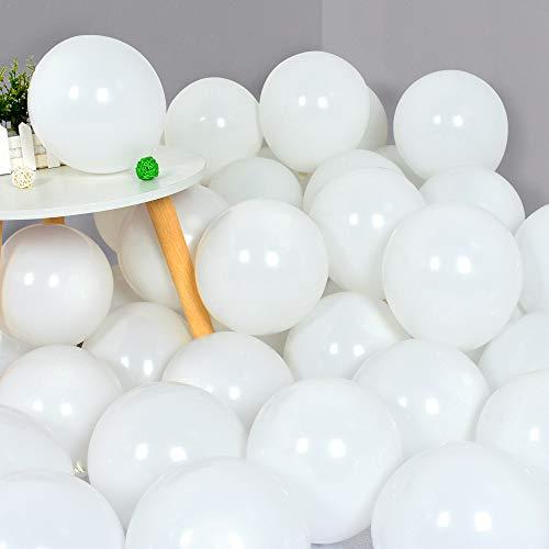 100Pcs White Party Balloonns 10 Inch White Balloon Matte Latex Ballon White Round Balloons for Party...