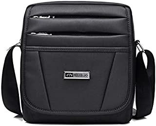 FYXKGLan Men's Shoulder Bag High-Grade Nylon Wear-Resistant Water-Proof Business Casual Slung Shoulder Bag (Color : Black)