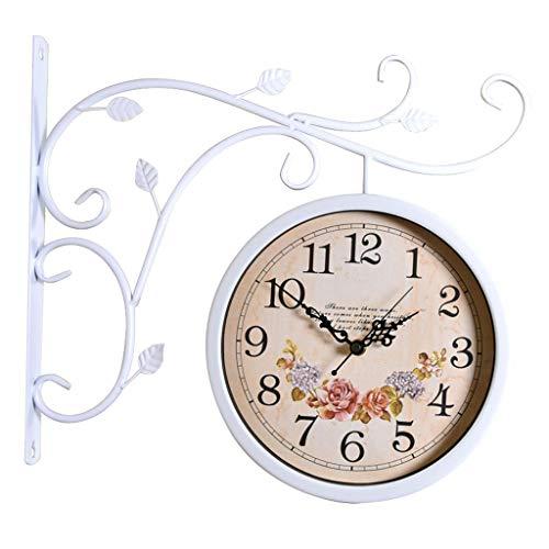 Kreative Wanduhr/doppelseitige Wanduhr, rustikale leise Deko-Uhr, geeignet für Wohnzimmer, Schlafzimmer, Esszimmer (weiß)