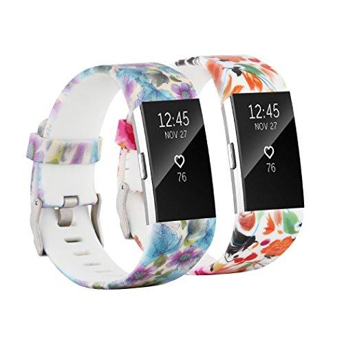 Tkasing para Fitbit Charge 2 Bandas de Repuesto para Mujeres y Hombres, Pulseras de Accesorios Ajustables para Fitbit Charge 2, Grande y pequeño, S, Pack of 2B