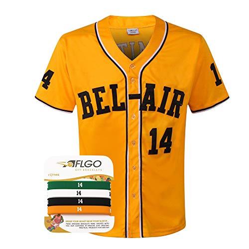 AFLGO Smith Fresh Prince #14 Baseball Bel Air Trikot Gelb Set mit Armbändern - Gelb - Mittel