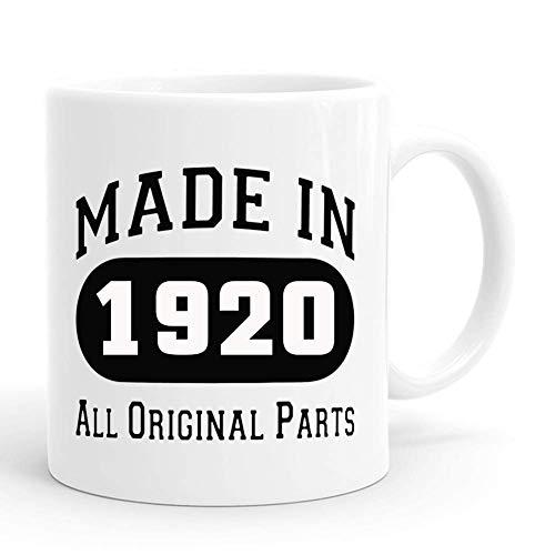 Hecho en 1920, todas las piezas originales, taza, regalo de cumpleaños número 100 para hombres, divertidas tazas de café de 11 onzas para él, amigo, papá, hermano, esposo, abuelo, compañero de trabajo