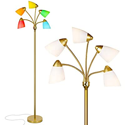 Brightech Medusa LED Floor Lamp - Multi Head Adjustable Tall Pole Standing Reading Lamp for Living Room, Bedroom, Kids Room - Includes LED bulbs and White & Colored Interchangeable Shades – Brass/Gold