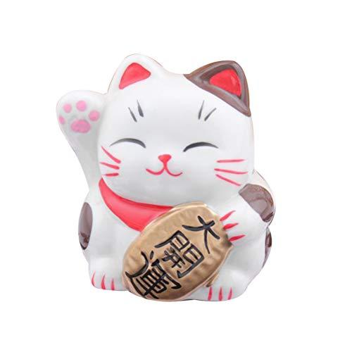 VOSAREA Spardose Maneki Neko Winkekatze Japanische Glückskatze Glücksbringer Dekofigur aus Porzellan