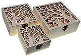 JB13 3 cajas cuadradas Cajas nido Cofre del tesoro (3 paquetes) Caja del tesoro de madera Clásico Almacenamiento decorativo Artesanía de madera Regalo Cajas de madera Caja de joyería Regalo