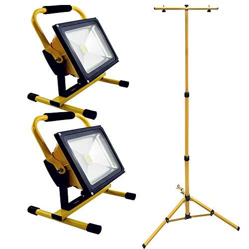 HENGMEI LED Fluter Akku Baustrahler Arbeitsleuchte Strahler Flutlicht Scheinwerfer handlampe für Camping (2X20W Kaltweiß + Stativ)