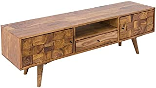 Casa Padrino Mueble TV de diseño Natural W.140 x H.45 x T.35 - Aparador - Cómoda - ¡Madera Maciza Hecha a Mano!