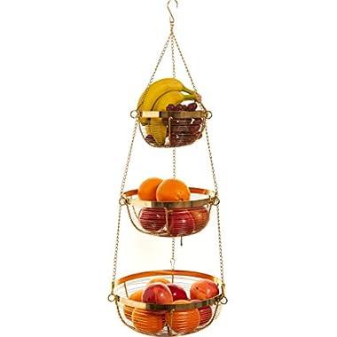 Useful. 3 Tier Hanging Fruit Basket (Gold)