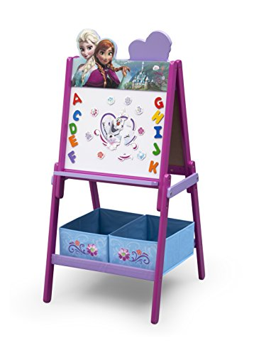 Delta Children Wooden Double-Sided Kids Easel with Storage -Ideal for Arts & Crafts, Drawing, Homeschooling and More, Disney Frozen