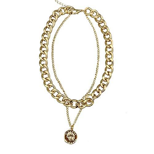 mingtian Collares de Cadena Cubana Gruesa con Colgante de Retrato Vintage de Estilo Callejero de Doble Capa para Mujer, Gargantilla de Oro, Collar de Hombres