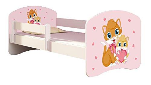 Letto per bambino Cameretta per bambino con materasso Cassetto ACMA II (33 Gatti, 140x70)