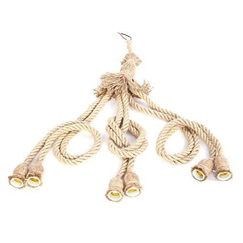 Hongzer Cuerda de cáñamo con luz Colgante de 6 Cabezas, E27 Cuerda...