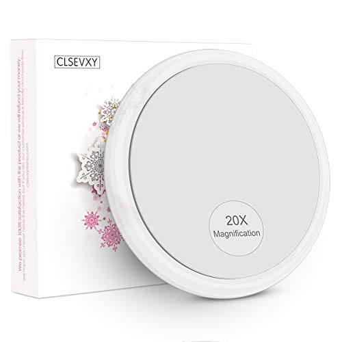 CLSEVXY 20X Magnifying Mirror with 3 Suction Cups for Easy Mounting- Use for Makeup Application - Tweezing - and Blackhead/Blemish Removal - 4 Inch Round Mirror Comes with 1PC Storage Bag