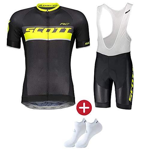 DDDD store Abbigliamento da Ciclismo per Uomo Set Traspirante Quick Dry Maglia Manica Corta da Ciclista + Cuscino 3D Imbottito da Equitazione Pantalone Pantalone