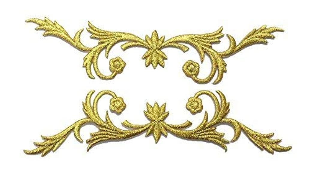 1 Pair Exquisite Flower Gold Lace Vintage Design Fashion DIY Applique Embroidered Sew Iron on Patch p#311