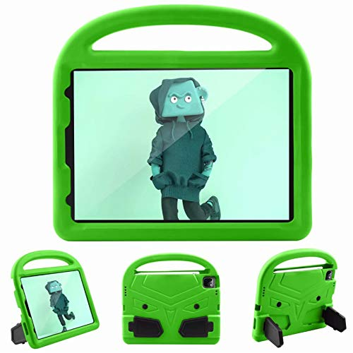 Children Tablet protective Case Cover All-inclusive Handle cartoon shell For Apple iPad Pro 11' inch 2nd Generation 2020 With pen slot Stand (Green)