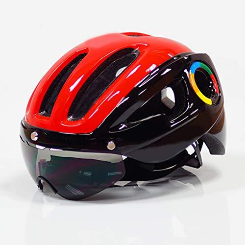 Casque de vélo Yuan Ou Casque de Vélo Enfant Adulte Casque De Vélo Ultra-léger pour Hommes Road MTB Mountain Bike Equipment 9 Vents 54-59cm Rouge-Noir