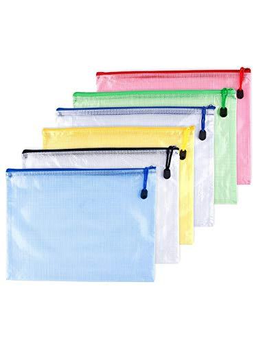 OAIMYY A3-Waterproof Tear-Resistant Plastic Zipper Pen File Document Folders Pockets Travel Bags,6-Pcs,Multicolor