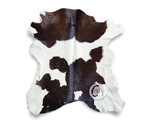 Calfskin Chocolate and White Calfskin Calf Hide Cow Skin Cowhide Rug Leather Area Rug 3 x 2 ft.