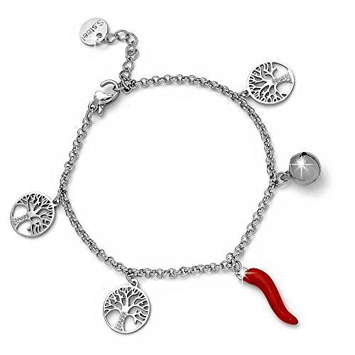Beloved Bracciale da donna con cornetto rosso portafortuna, campanellino e charm a tema - in acciaio inossidabile - misura regolabile (Albero della vi
