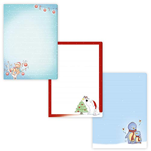 """3 weihnachtliche Schreibblöcke\""""BÄRIGE WEIHNACHT\"""",\""""EISBÄR\"""" &\""""PINGUINE\"""" jeweils Format DIN A5 liniert mit 50 Blatt Briefpapier einseitig bedruckt/Briefpapier für Kinder/Briefblock Kinder Weihnachten"""