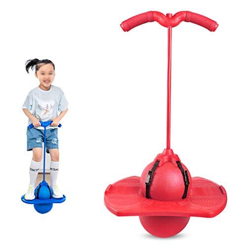 Fxhyy Bola de salto con asa, juguete para adultos y niños, juguete de resorte, juguete deportivo, duradero, a prueba de explosiones, con bomba, rodamiento máximo, 89,8 kg, multicolor (color: rojo)