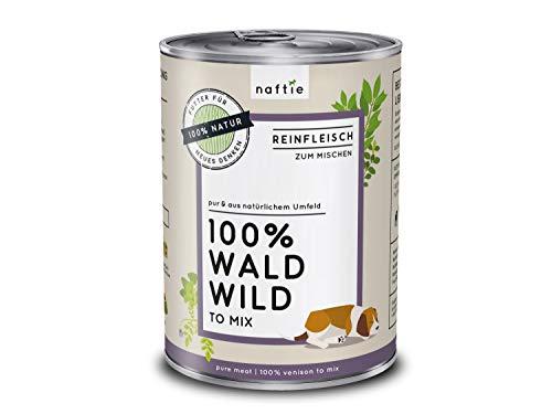 naftie Premium Hundefutter 100% Wald Wild | Reinfleisch-Dose pur | Hunde-Nassfutter zum Mischen, Barf-Fleisch | Glutenfrei | Getreidefrei | 400 g Dose