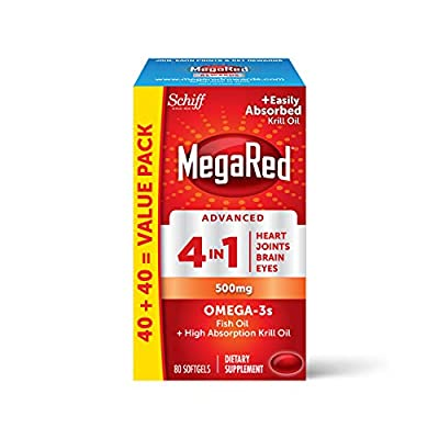 Omega-3 Fish Oil + High Absorption Krill Oil 500mg Softgels, MegaRed Advanced 4in1 (80 Count in a Bottle), Concentrated Omega-3 Fish & Krill Oil Supplement (Pack of 1)