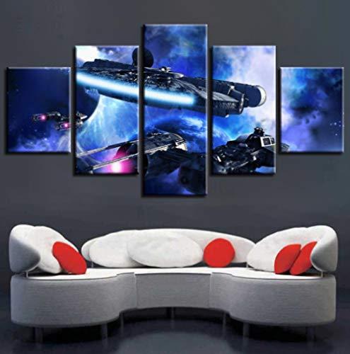 45Tdfc Cuadro En Lienzo 5 Piezas Pintura Nave Espacial de Star Wars Moderno Fotos Material Te Jido No Tejido Arte Pared DecoracióN HogareñA ImpresióN