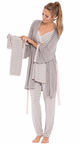 Olian'Anne' Nursing Stripe Cami/Pajama Set with Baby Gown