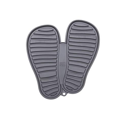Sanni Shoo, Shoo.pad, Flexible, waschmaschinen-Feste Schuh-Abtropf-Matte, Schuhablage, Schuhabtropfschale, Abtropf- und Schmutzfang-Matte für Schuhe L (bis Schuhgrösse 47), grau