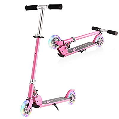 WeSkate Boys Scooter, Kids Scooters Foldable Portable Scooter Adjustable Height 2 LED Lights Up PU Flashing Wheels, Kids Scooter for Girls Boys Age 3-14
