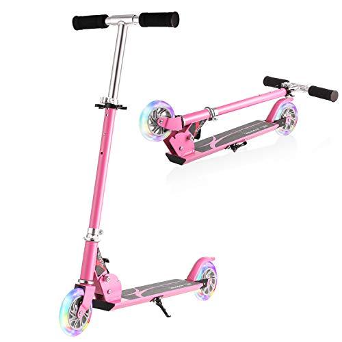 WeSkate Patinete Plegable 2 Ruedas para Niños de 4 a 10 Años Scooter Ajustable en 3 Niveles para Niñas y Niños, Carga Máxima de 50 kg (Rosa)