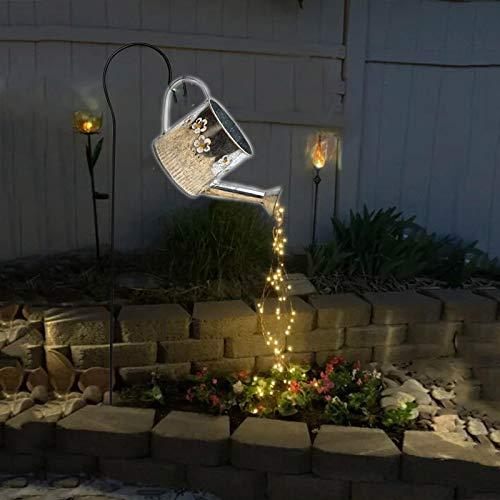 Surfiiiy Wasserfest Licht Wasserfall lampions Außen gartenlampen 35 x 17 cm gießkanne lampion  Licht Mit Batterie Garten Deko für Outdoor Garten Hof (F Mit Halterung)