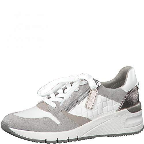 Tamaris Mujer Zapatillas, señora Bajo,Plantilla Desmontable,Cuña de tacón,Zapatos Bajos,con Cordones,Zapatos de Calle,White Comb,37 EU / 4 UK