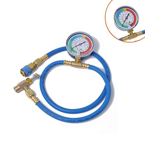 HaiNing Zheng Calibrador de presión de refrigerante de Reloj de fluoruro 134A Plus Combinado Aire Acondicionado automotriz y Tubo de fluoruro Tubo de llenado de refrigerante (Color : Blue)