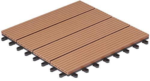 Gartenfreude 4600-1005-006 - Nunca terrazas del Piso de wpc Suelo de baldosas baldosas de 10-Set (Aproximadamente 0,9 m2), 30 x 30 cm, de Color marrón Claro, Perfil Hueco