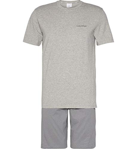 Tommy Hilfiger S/s Short Set Pijama, Gris (Grey H Top/Astor Geo Print Grey Cjp), Medium para Hombre