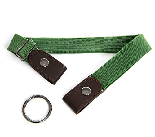 No Buckle Elastic Belt for Women and Men Comfortable Adjustable Invisible Stretch Waist Belt (Green)