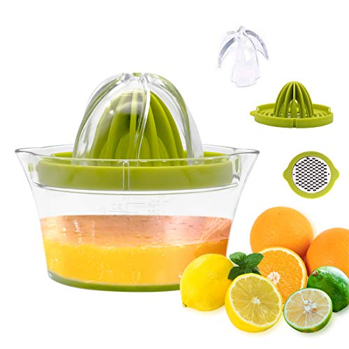 HDCool Manual Juicer Citrus Lemon Orange Hand Squeezer, Dishwasher Safe, Hand juicer Press with Built-in Measuring Cup and Grater, 400ml, Green