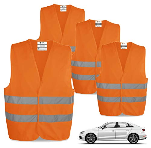 TK Gruppe Timo Klingler 4X Warnwesten EN471 Pannenweste 2020 Unfallweste Pkw Sicherheitsweste Weste orange reflektierend Auto, Pkw, LKW (4X Stück)