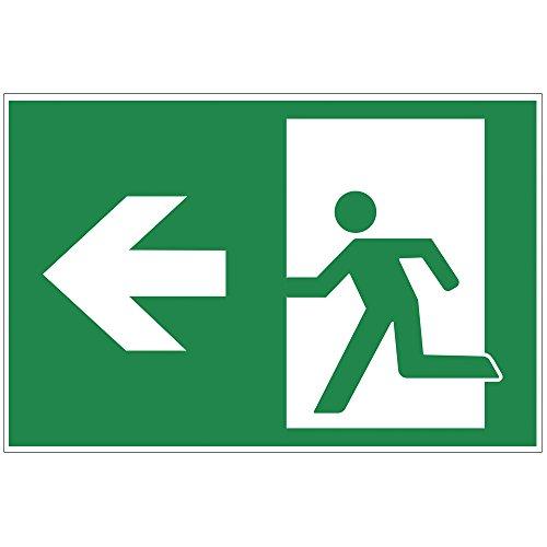 """Cartello """"uscita di emergenza"""" sinistra, targa segnaletica di uscita realizzato in lastra rigida di PVC espanso, 300x200 mm, spessore 3 mm"""