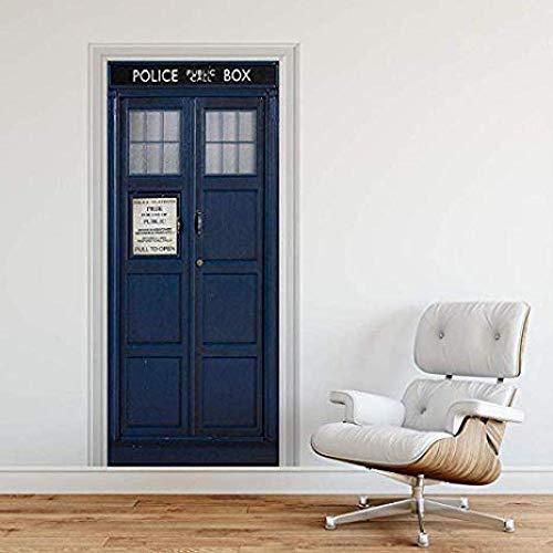 Bdhnmx Selbstklebende 3D Tür Wandbilder aufkleber Police Box Blau UK Tardis Riesen Fantasie Kunst Leinwand Tapete 30,3X78,7 (77X200 Cm)