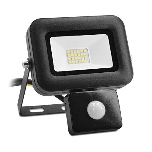 kwmobile Foco LED de exteriores de 20W - Proyector de luz con sensor de movimiento PIR - Lámpara de 1600 lúmenes con luz blanca fría 6500K IP44