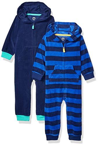 Amazon Essentials 2-Pack Microfleece Hooded Coverall Fashion-Hoodies, Deportivo, Bebé prematuro