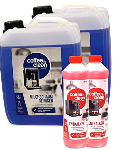 2x5L Milchsystemreiniger Cappuccino-Reiniger Sahnereiniger + 2x 750ml Flüssigentkalker für Kaffeevollautomaten Gastro